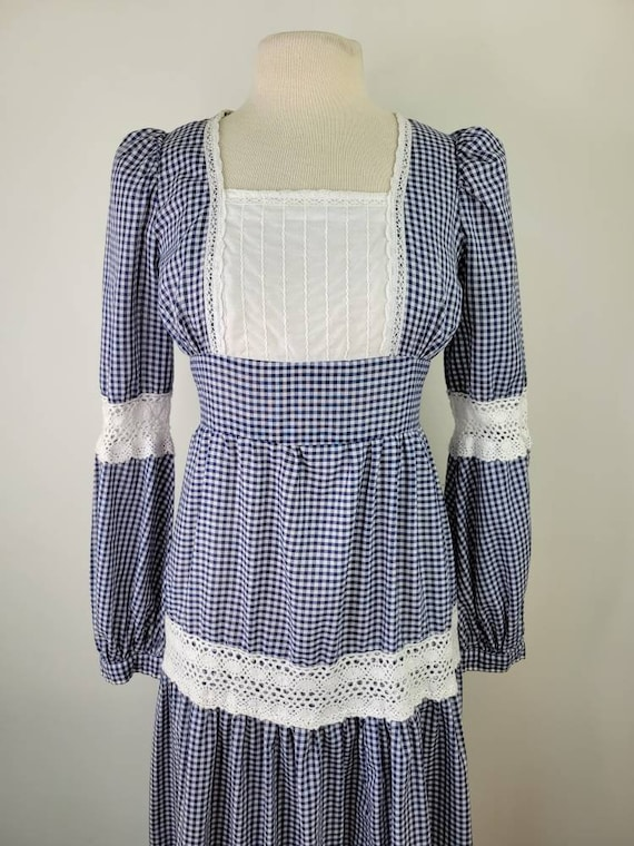 Vintage Gunne Sax gingham maxi dress long sleeves… - image 5