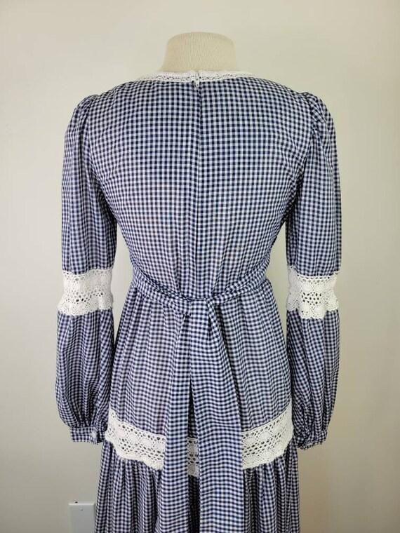 Vintage Gunne Sax gingham maxi dress long sleeves… - image 7