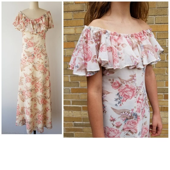 Vintage 1970s Size XS / S rose print off-the-shoul