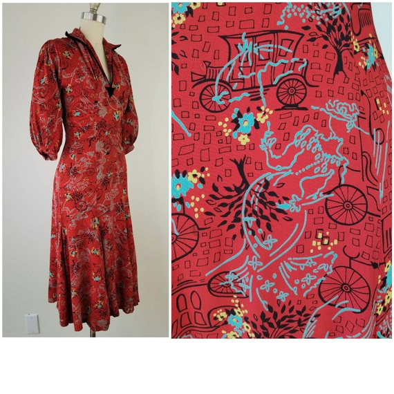 Vintage 1940s Size S lady and car print rayon dres