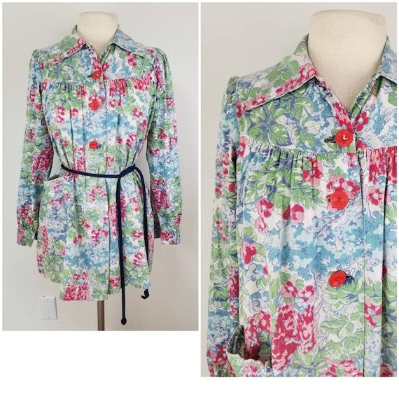 Vintage 1930s 1940s floral cotton smock blouse swi