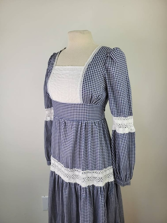 Vintage Gunne Sax gingham maxi dress long sleeves… - image 6