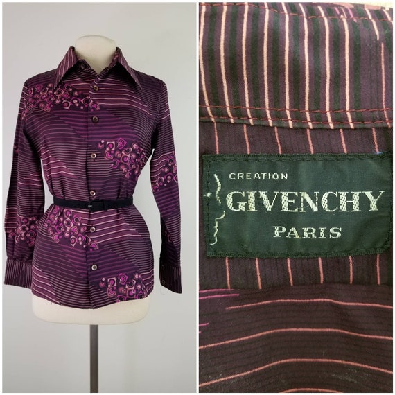 Vintage 1970s Givenchy Paris purple geometric prin