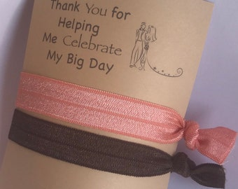 Brown and pink Wedding thank you cards with hair ties