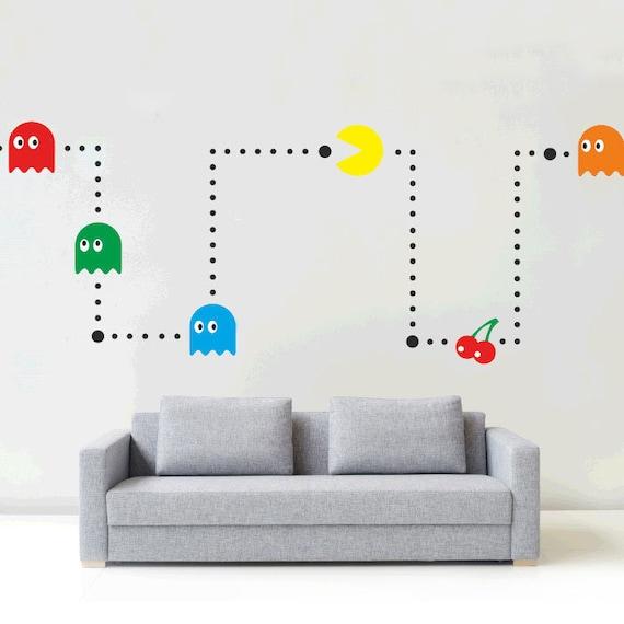 Pacman Retro Gaming Wall Sticker Decal Transfer Gamer Boys Kids Matt Vinyl UK