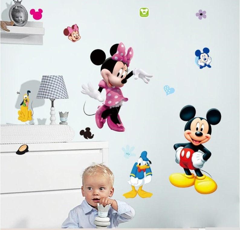 Decoration For A Child S Room Mickey Mouse Minnie Mouse Etsy