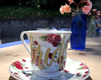 personalized tea cup and saucer set bridal shower decor party favors custom tea party