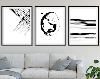 Black And White Abstract, Extra Large Wall Art, Large Abstract Painting,  Abstract Print, Minimal Painting, Modern Minimalist Art Set Of 3