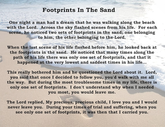 This is a picture of Poem Footprints in the Sand Printable with regard to spiritual