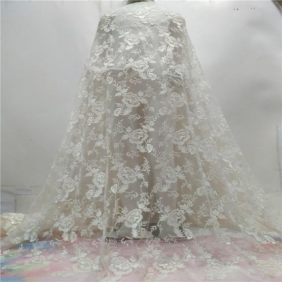 Paillettes ivoire luxueux floral brodé robe dentelle tissu pour robe brodé bricolage,dentelle française,dentelle de bal d'étudiants,dentelle de mariage a4ffe3