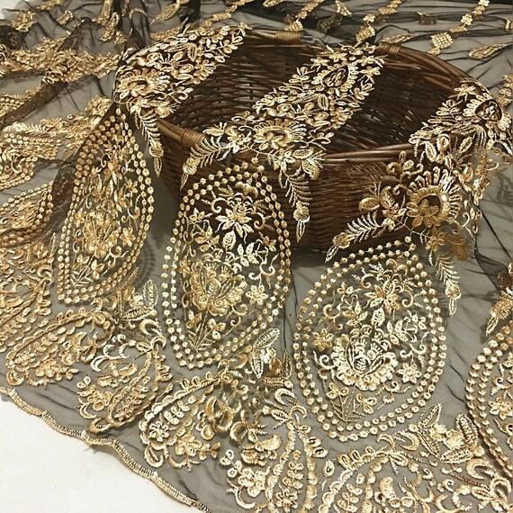 Tissu de dentelle brodée florale d'or de gaze noire noire gaze pour la robe, robe de bal, largeur large 130cm de tissu de robe de soirée florale solide b68bc4
