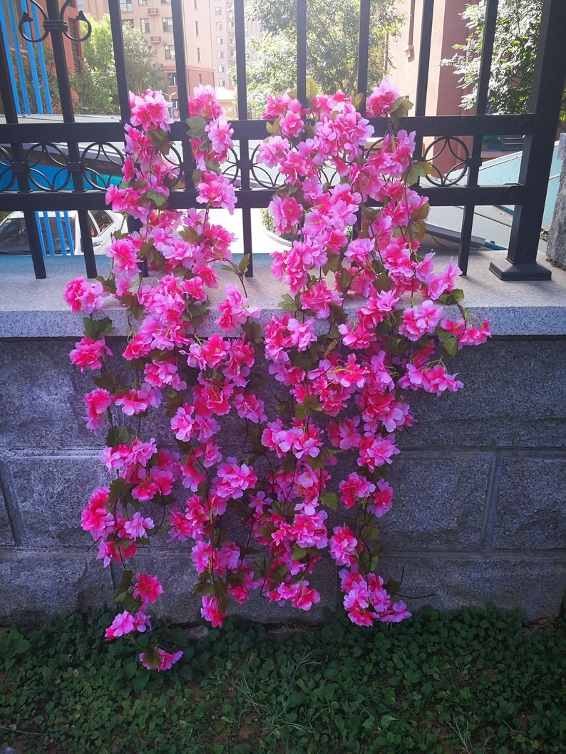 Artificial Cherry Blossoms Vine Hanging Decoration For Home