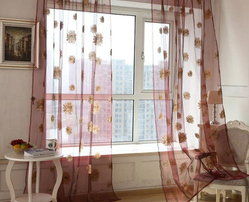 1 yard White Yarn Floral Embroidery Lace Fabric,Lace Curtain Gauze Fabric,Lovely Sunflower Patten Tulle Fabric Height 106