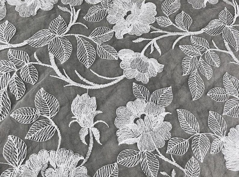 1 Yard White Gauze Luxurious Flower Embroidered Lace Fabric for DIY dress,Prom Dress,Wedding Bridal Dress,Soft Rhododendron Floral Fabric