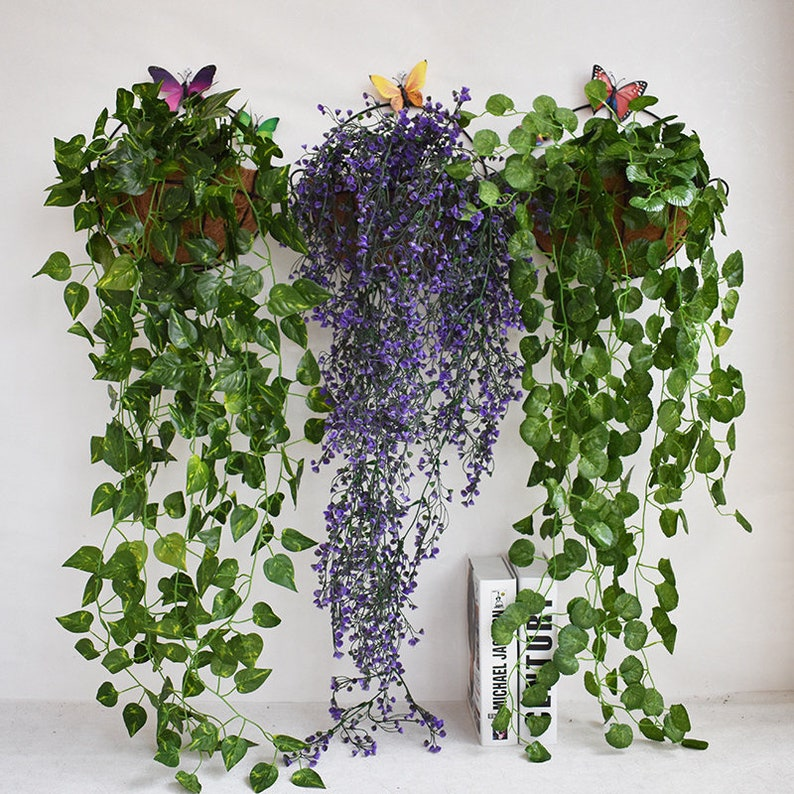 Artificial Flower Fake Plants Wall Hanging Decor For Etsy