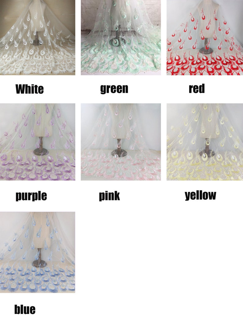 Bridal Dress Lace,Formal Dress Fabric Multi-colored  High Grade Luxurious Gloral Peacock Rmbroidered Lace Fabric for DIY Dress,Wedding Lace