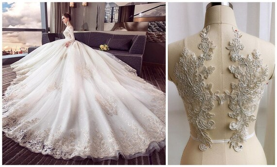White embroidery lace applique patchbridal dress lace etsy