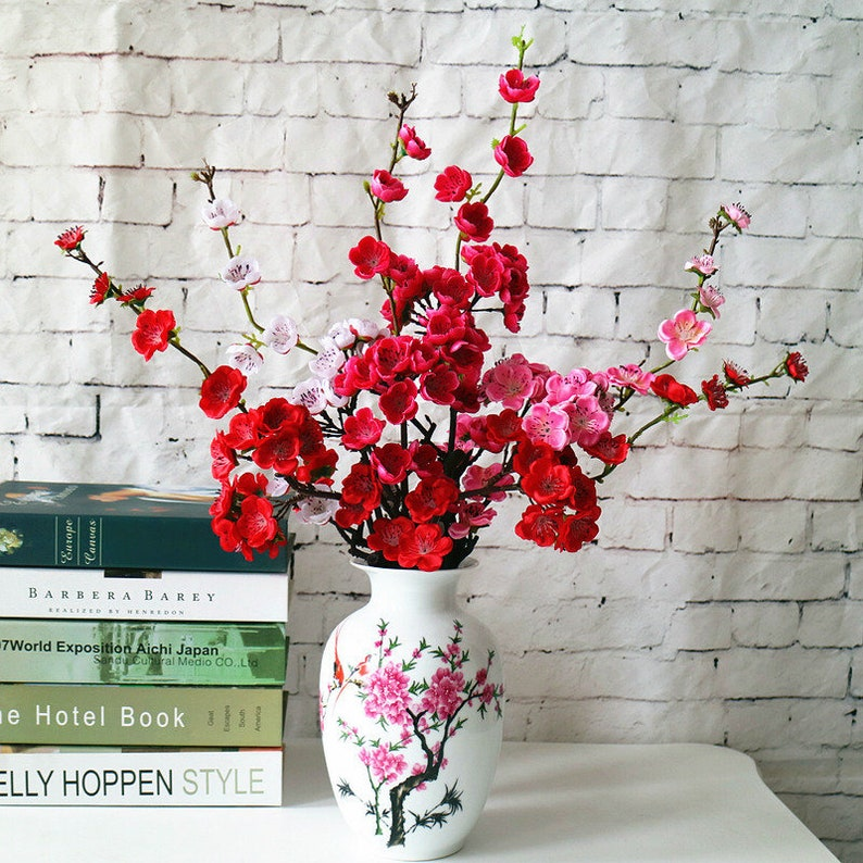 5 Stems Artificial Flower Plum Blossom Bouquets Wedding