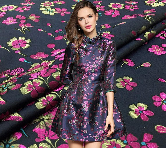 High Grade Multi-colored Elegant Floral Brocade Clothing Fabric Imported Romantic Big Flower Pattern Satin Farbic for Dress Skirt Suit Coat