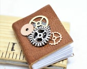 Steampunk Goat Skin Covered Journal Miniature Handmade Book, Journal with blank pages, opening dollhouse book decor in 1 12 scale