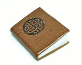 Soft Goat Skin Celtic Knot Journal Miniature Handmade Book, Journal with blank pages, opening dollhouse book decor in 1 12 scale