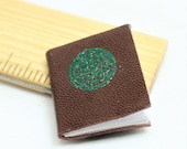 Celtic Knot Goat Skin Leather Cover Journal Miniature Handmade Book, Journal with blank pages, opening dollhouse book decor in 1 12 scale