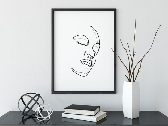 Kobieta Drukuj Czarno Białe Twarz Plakat Sztuki Drukowanej Kobieta Farby Artystyczne Urban Print Sztuki Współczesnej Minimalistyczny Druk Art
