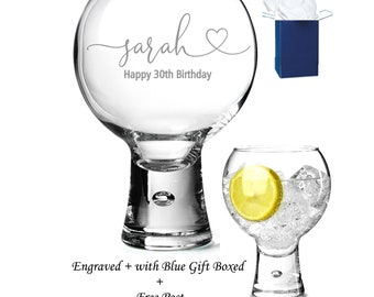 Personalised Butterfly Gin /& Tonic Large Copa Balloon Glass Engraved Gift