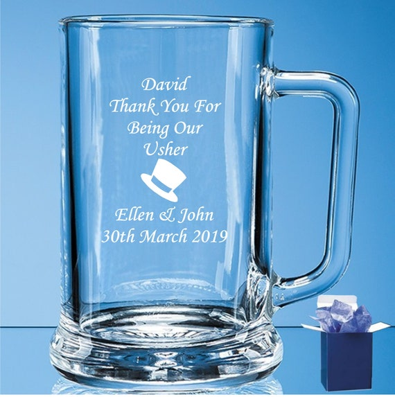 Usher Free Gift Box Personalised Engraved Glass Pint Tankard Wedding Best Man