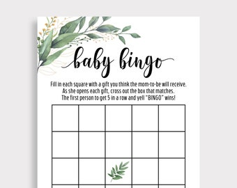 Baby Shower Bingo, Baby Shower Party Games, Instant Download, Printable Greenery Bingo Card,Adult Game, Baby Bingo Game, Gender Neutral, G18