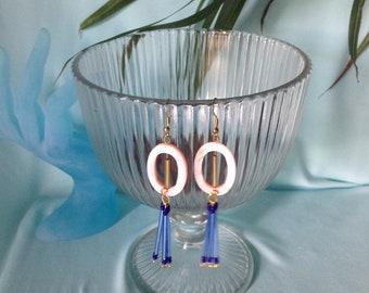 Pink shell & blue bohemian glass bead dangle earrings