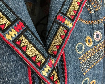 Embroidered Southwest Denim Jacket