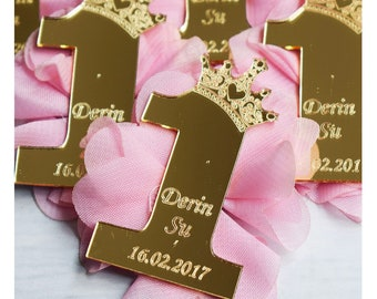 First Birthday Acrylic Magnets Princess Favors 1st Baby