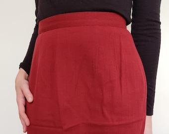 9ed48df74ba5b Vintage Red Wool Skirt