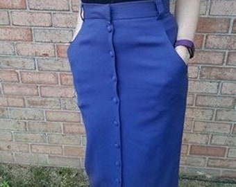 Vintage 80's blue button up pencil skirt 100% wool BICE Size 6