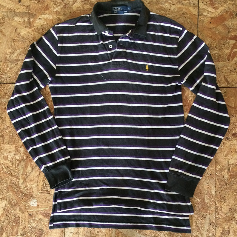 0ee7c5d3a2f Vintage Polo Ralph Lauren Striped Rugby Pony Horse Logo Size S   Etsy