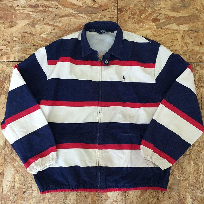 Vintage Polo Ralph Lauren Harrington gestreifte Jacke Polo Stadion Polo 92 Größe M