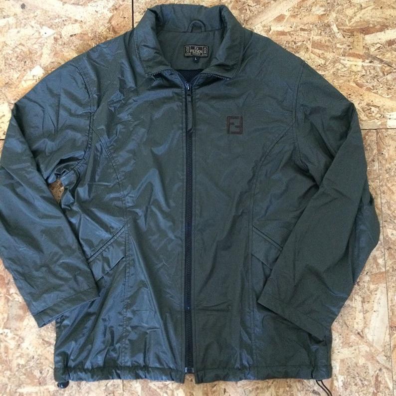 Vintage Fendi Roma Black Bomber Waxed Jacket Size M  6dcd18426ea70