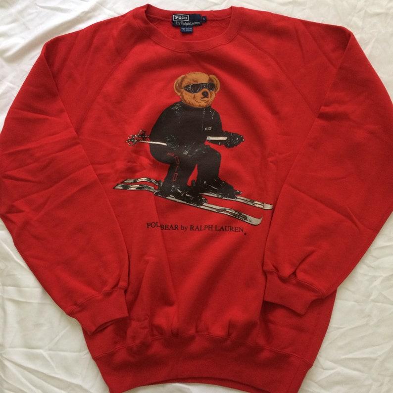 e9a0d8bd Vintage Polo Bear Ralph Lauren Ski Sweaters Red Size S RLTM018   Etsy