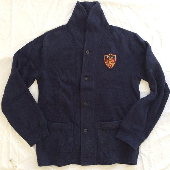 3171f76b44 Vintage Polo Ralph Lauren Cardigan Shield Logo Dark Blue Size