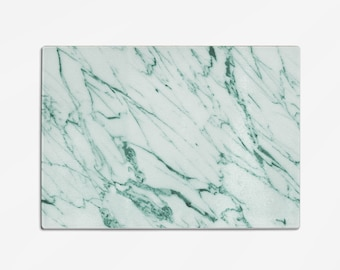 Glass Cutting Board 8x11 inch white and green Marble-look design