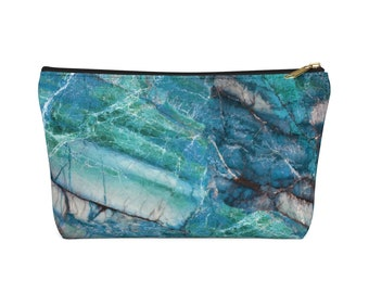 Accessory Pouch W T Bottom Blue-Green Marble