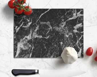 Glass Cutting Board 8x11 inch black and white stone marble-look design