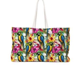 Weekender Beach Tote Bag Tropical parrot and hibiscus flowers