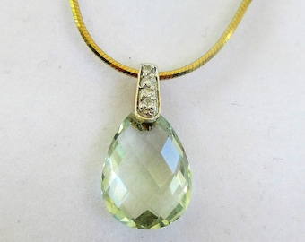 "Genuine Green Amethyst Prasiolite Briolette 14mm X 10mm teardrop pendant with 14k gold bail, 4 diamond accents, with 18"" GPL snake chain."