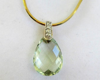 "Green Amethyst Pendant,Prasiolite Briolette teardrop pendant with 14k gold bail,4 diamond accents, with 18"" GPL snake chain.Vintage"