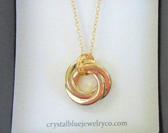 Polished Gold Love Knot Pendant,w/rings on Chain,20 inch strong Gold Necklace w/3 inch extender,Beautiful Polish Gold over silver, 2 sided