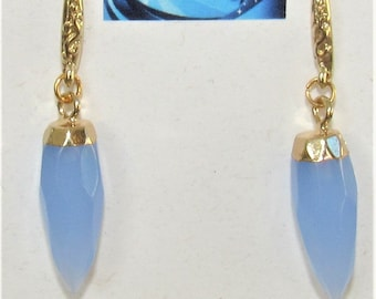 Chalcedony Earrings,Blue Chalcedony daggers,Gold carved ear hooks,Faceted Chalcedony,14K Gold wrapped,Chalcedony Pierced Earrings,Blue stone