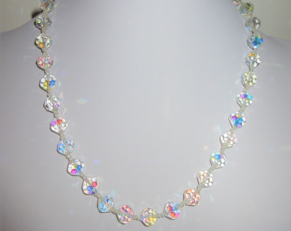 Sparkling Aurora Borealis Crystal bead Necklace, double crystal spacer beads, 10 mm freshly wired Crystals w/ screw type gold plated closure