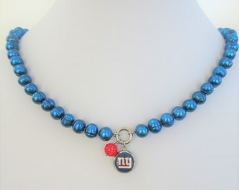 "NFL Honora Pearl NY Giants Necklace,S.Steel, Crystal Ball charm,Team logo charm,18"" necklace w/3"" ext. Gorgeous keepsake necklace,lobster"